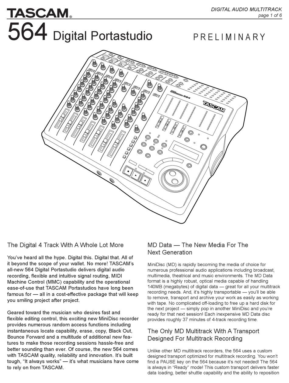 TASCAM 564 DIGITAL PORTASTUDIO USER MANUAL Pdf Download