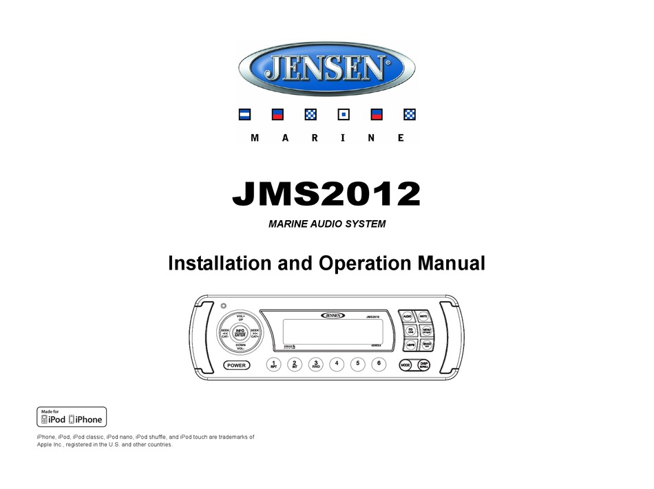 JENSEN JMS2012 INSTALLATION AND OPERATION MANUAL Pdf