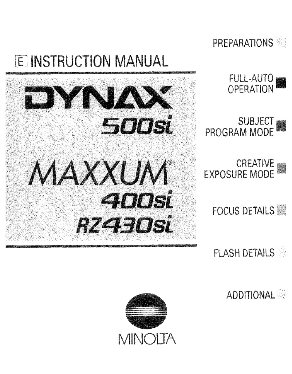 MINOLTA MAXXUM 400SI INSTRUCTION MANUAL Pdf Download