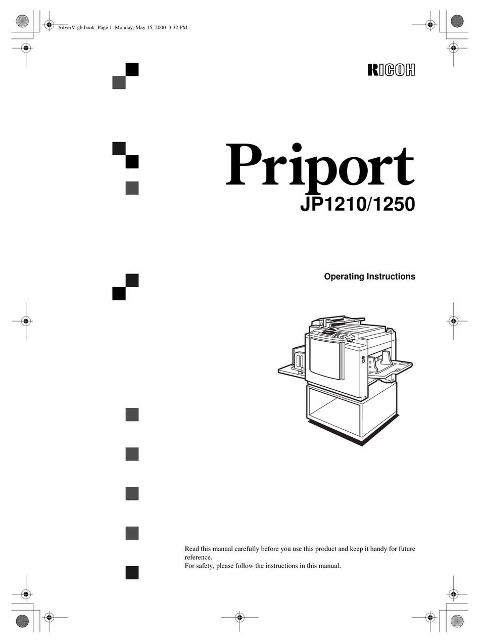 RICOH PRIPORT 1250 OPERATING INSTRUCTIONS MANUAL Pdf