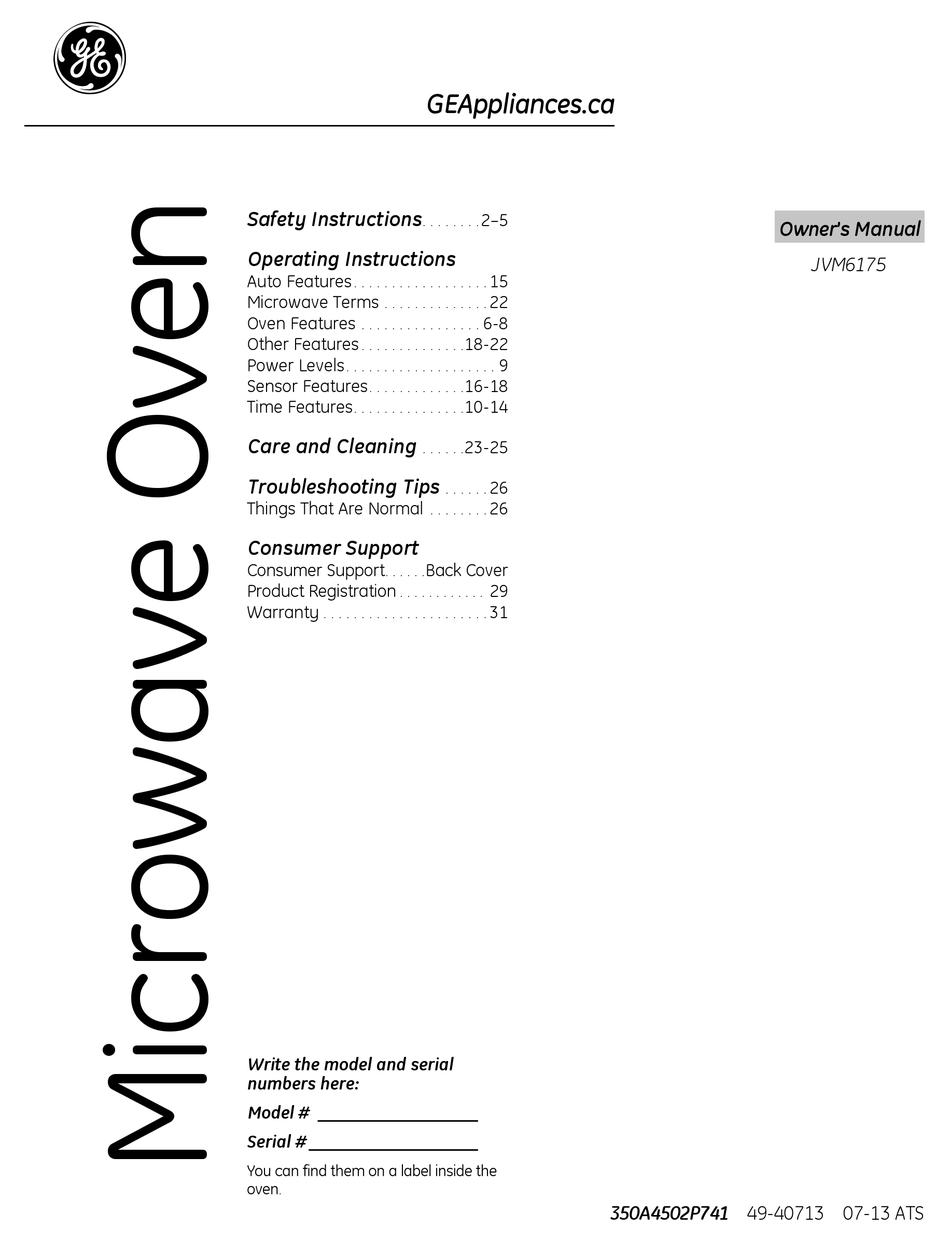 ge jvm6175 owner s manual pdf download