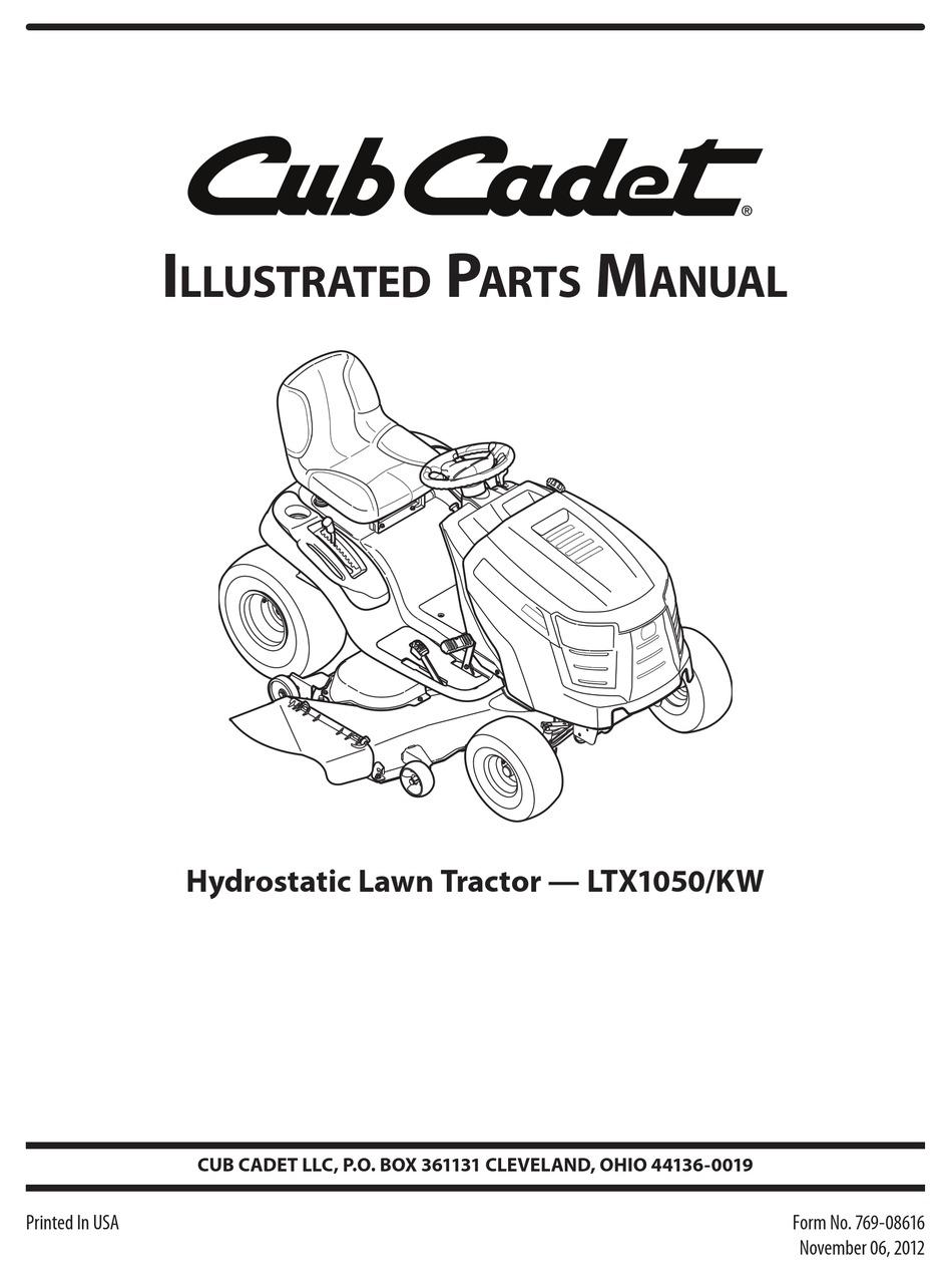 CUB CADET LTX1050/KW ILLUSTRATED PARTS MANUAL Pdf Download