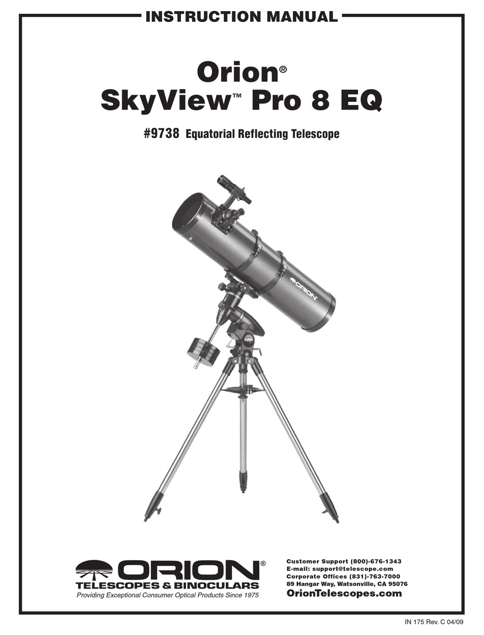 ORION SKYVIEW PRO 8 EQ9738 INSTRUCTION MANUAL Pdf Download