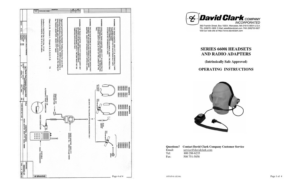 DAVID CLARK H6600I OPERATING INSTRUCTIONS Pdf Download