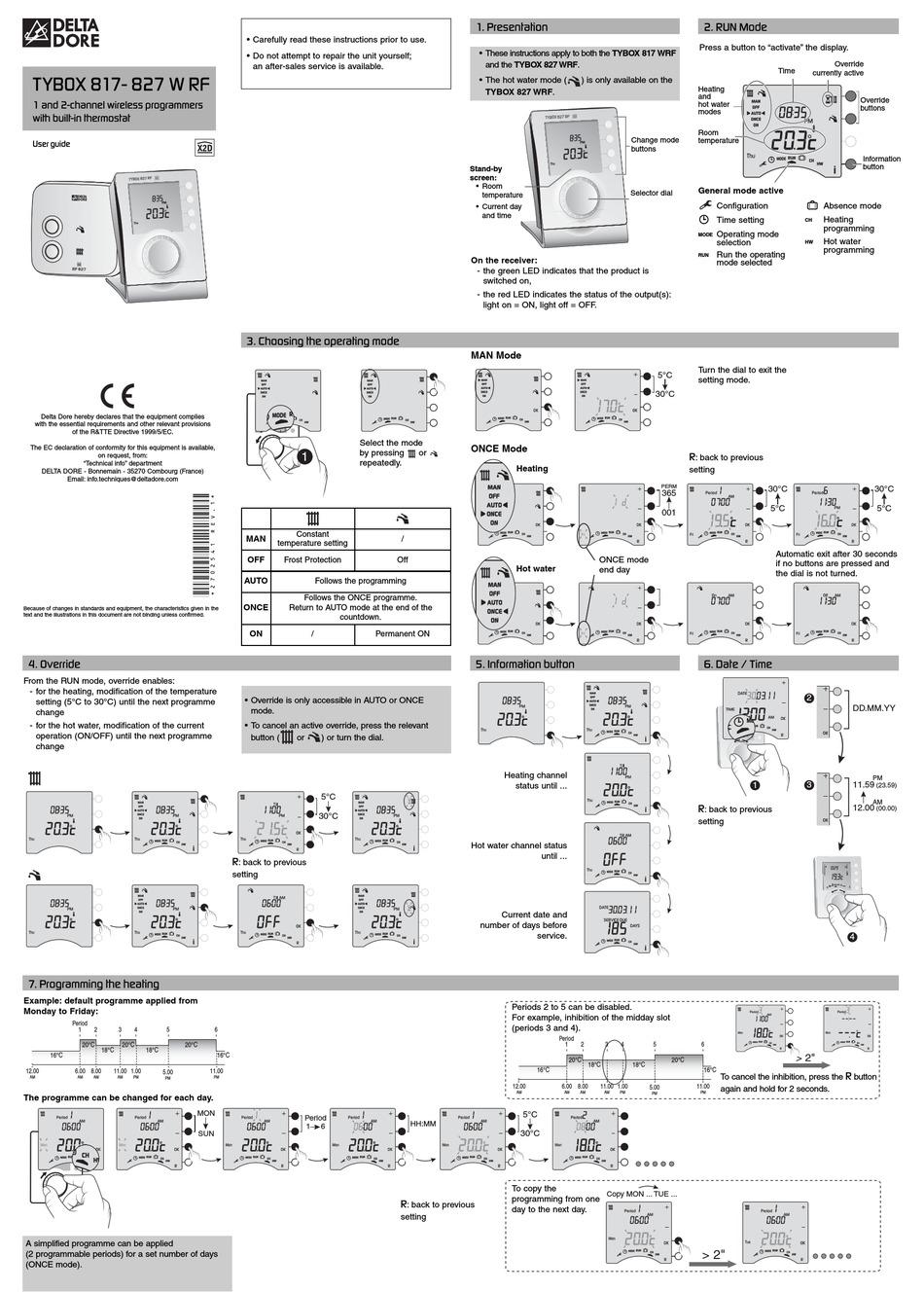 DELTA DORE TYBOX 817- 827 W RF USER MANUAL Pdf Download