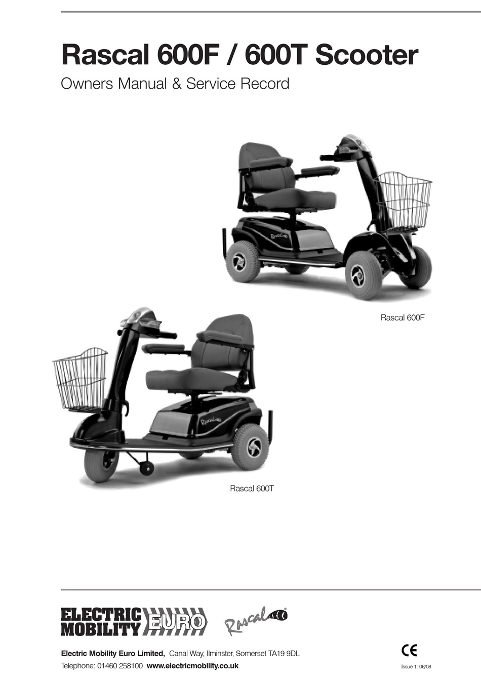 ELECTRIC MOBILITY RASCAL 600F OWNERS MANUAL & SERVICE
