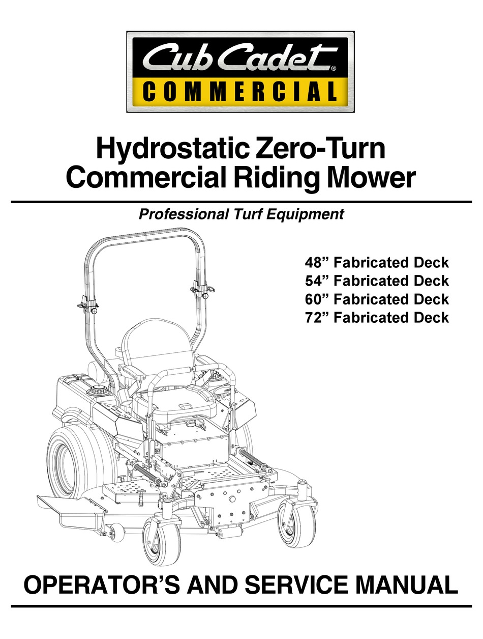 CUB CADET COMMERCIAL 23HP OPERATOR'S AND SERVICE MANUAL