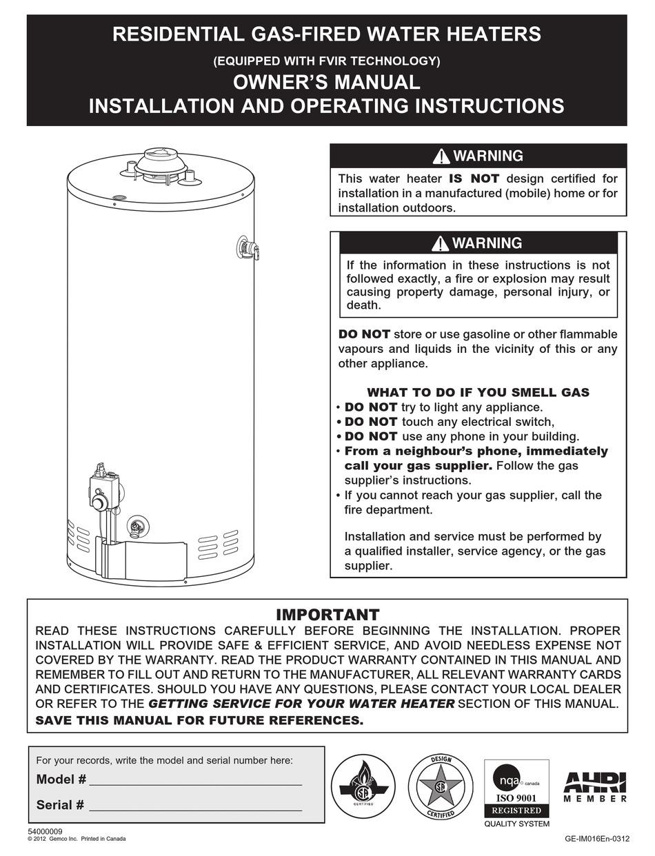 Ge Water Heater Serial Number : water, heater, serial, number, GEMCO, GE-IM016EN-0312, OWNER'S, MANUAL, Download, ManualsLib