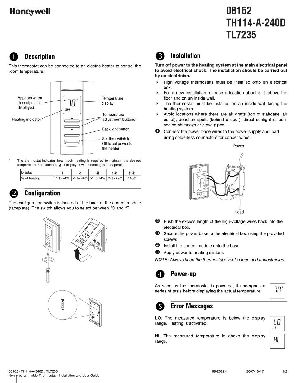 Th9421c1004 Manual : th9421c1004, manual, HONEYWELL, MANUAL, Download, ManualsLib