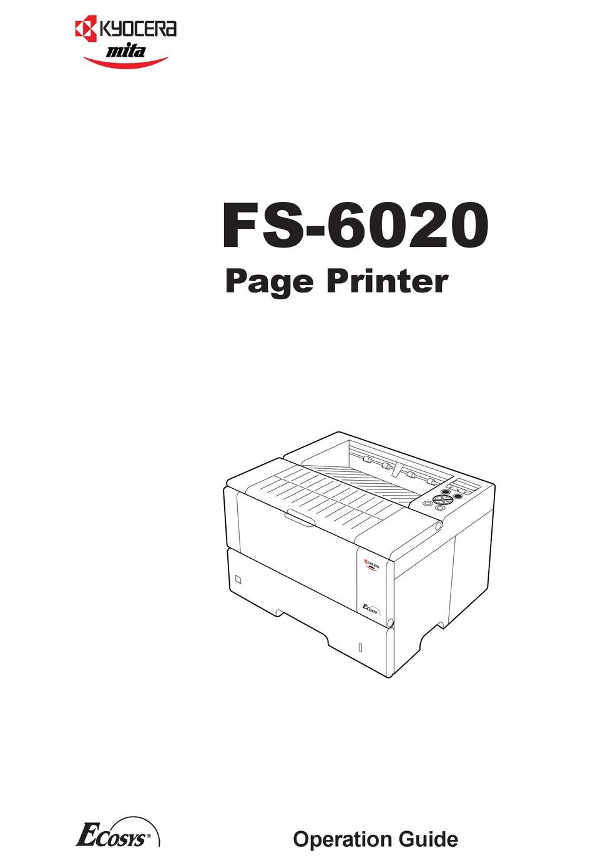 KYOCERA MITA ECOSYS FS-6020 OPERATION MANUAL Pdf Download