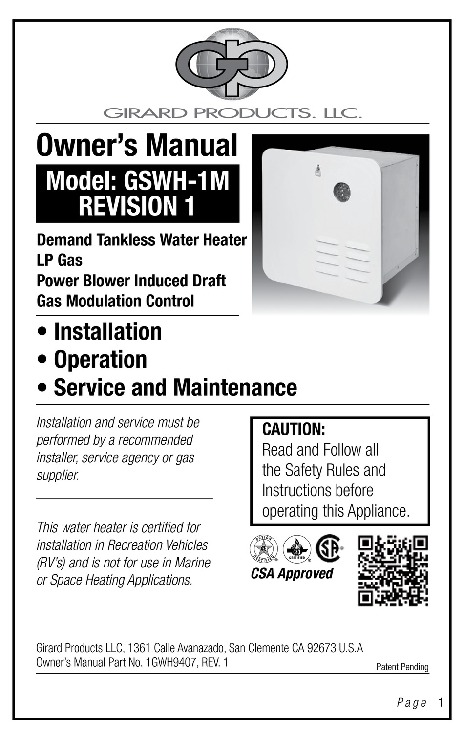 Girard Tankless Water Heater Troubleshooting : girard, tankless, water, heater, troubleshooting, GIRARD, PRODUCTS, GSWH-1M, OWNER'S, MANUAL, Download, ManualsLib