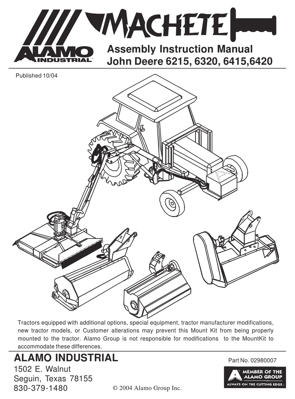 ALAMO JOHN DEERE 6215 ASSEMBLY & INSTRUCTION MANUAL Pdf