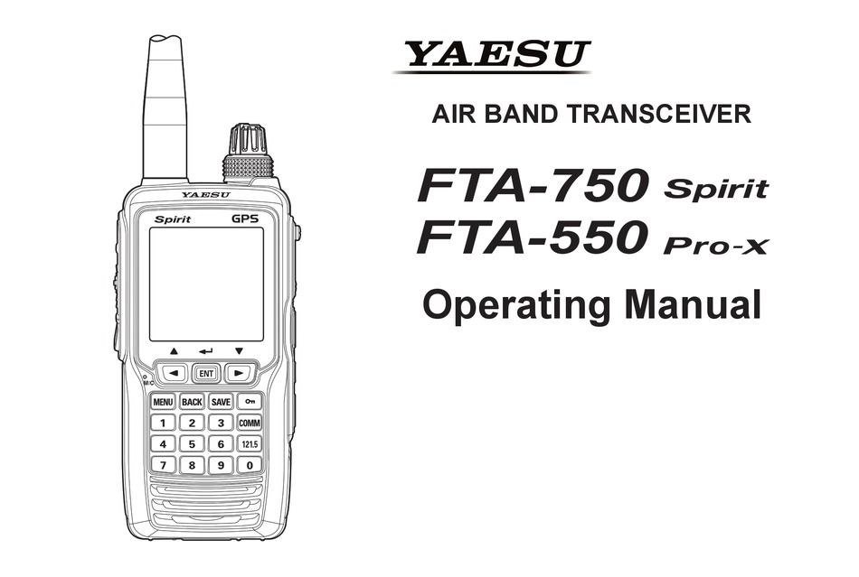 YAESU FTA-750 SPIRIT OPERATING MANUAL Pdf Download