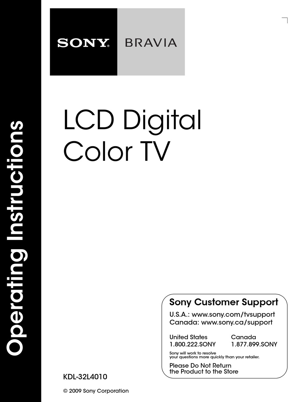 SONY BRAVIA KDL-32L4010 OPERATING INSTRUCTIONS MANUAL Pdf