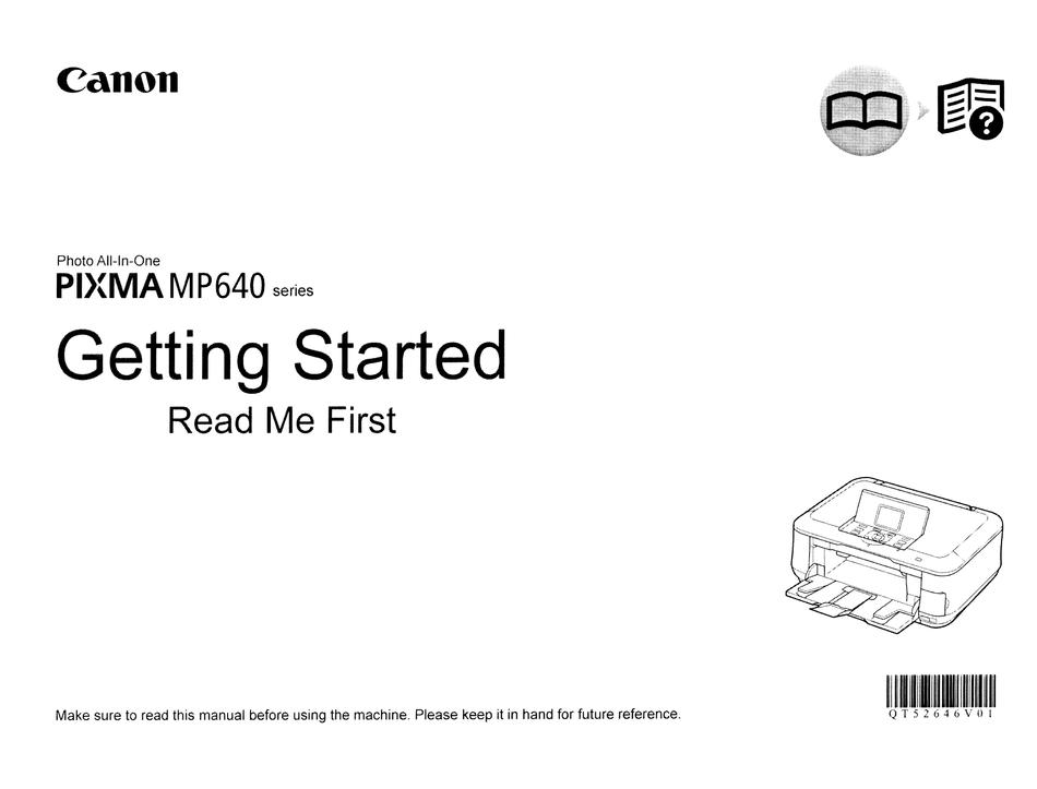 CANON PIXMA MP640 SERIES GETTING STARTED MANUAL Pdf