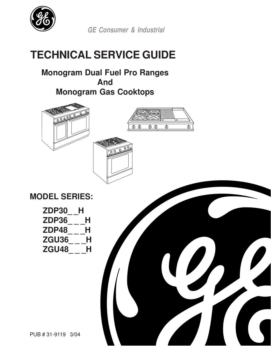 GE MONOGRAM ZDP30_ _H TECHNICAL SERVICE MANUAL Pdf