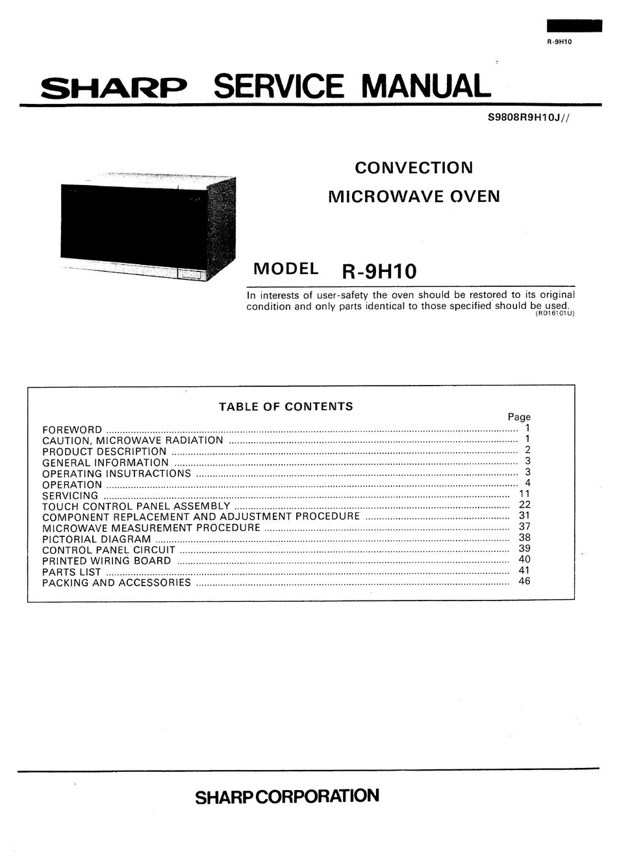 sharp r 9h10 service manual pdf