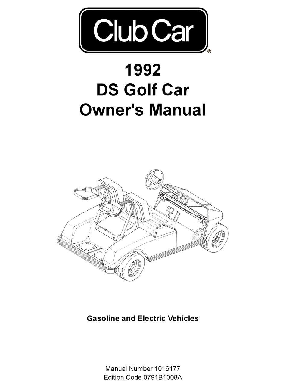 CLUB CAR DS GOLF CAR 1992 OWNER'S MANUAL Pdf Download
