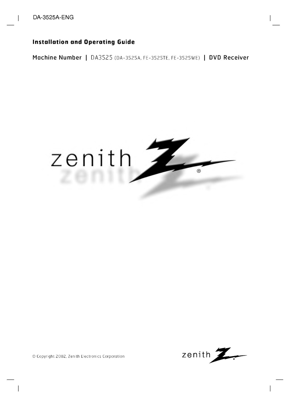 ZENITH Z INSTALLATION AND OPERATING MANUAL Pdf Download
