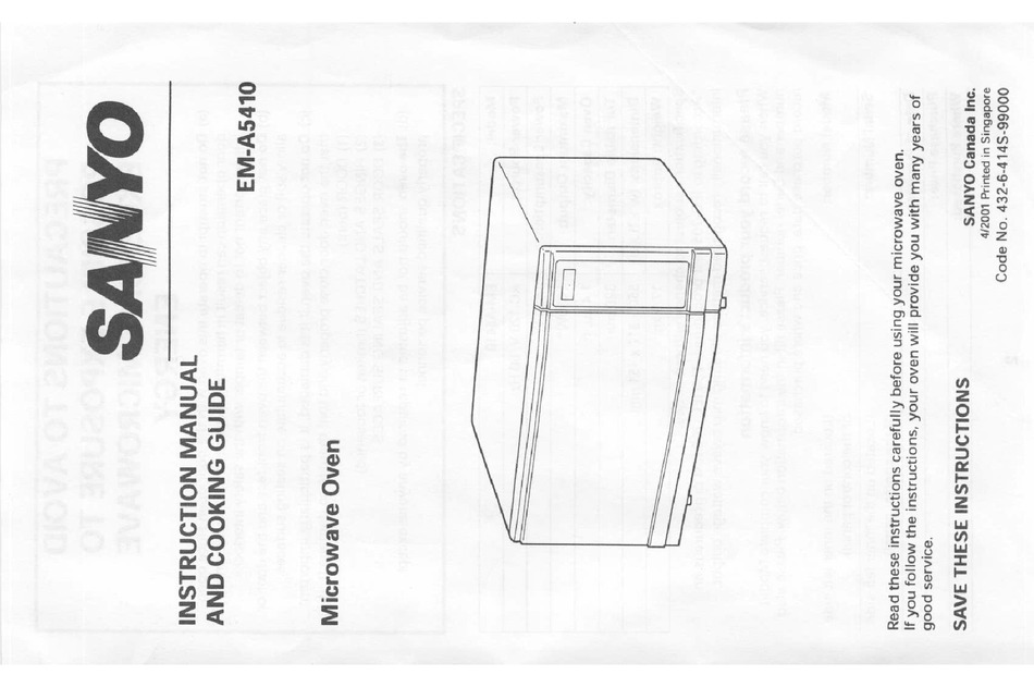 SANYO EM-A5410 INSTRUCTION MANUAL AND COOKING MANUAL Pdf