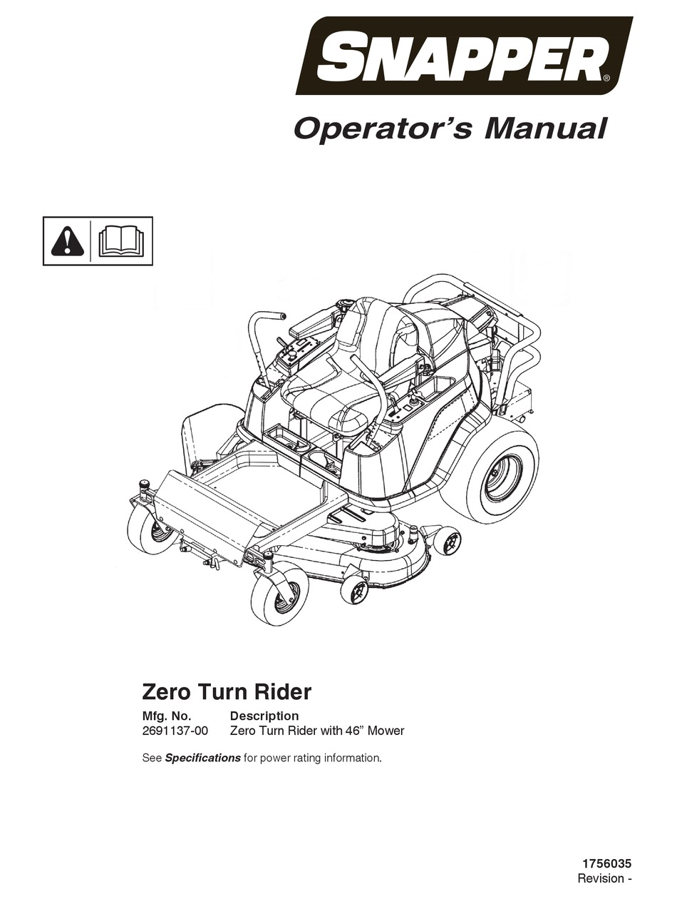SNAPPER ZERO TURN RIDER OPERATOR'S MANUAL Pdf Download
