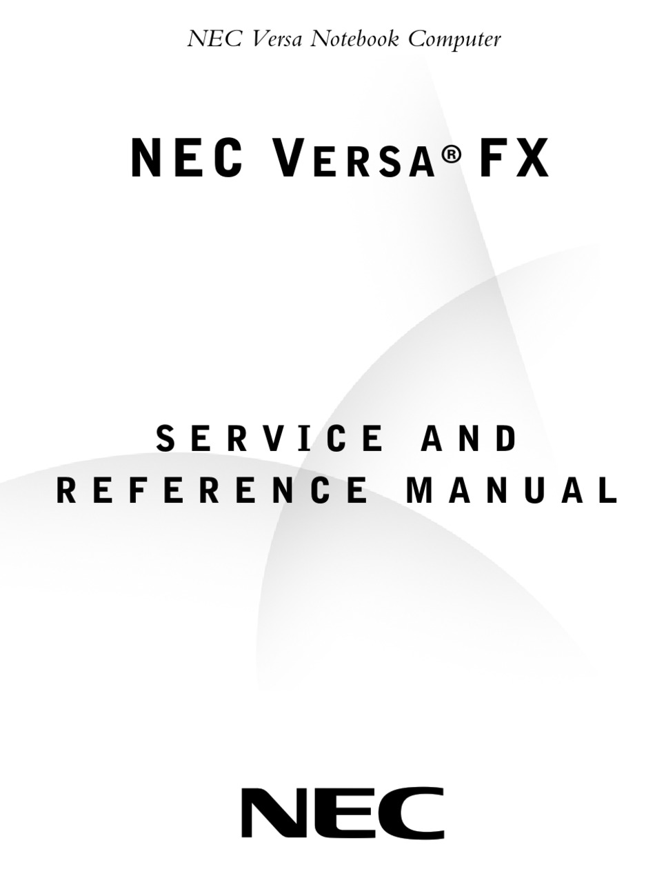 NEC VERSA FX SERVICE AND REFERENCE MANUAL Pdf Download