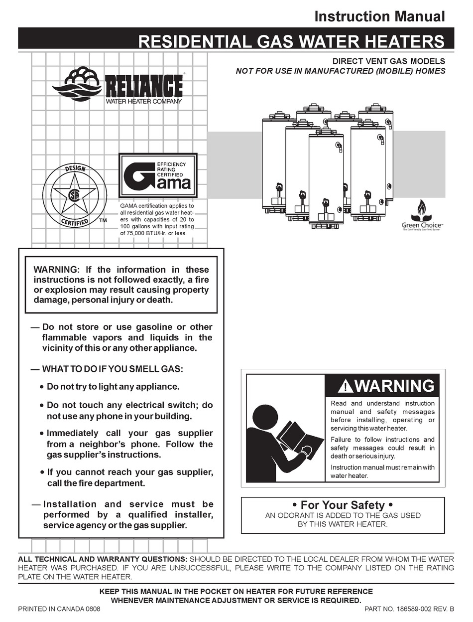 RELIANCE WATER HEATERS 606 SERIES INSTRUCTION MANUAL Pdf