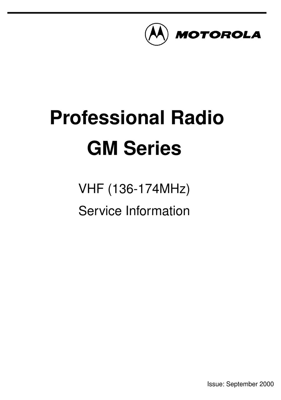 MOTOROLA GM SERIES SERVICE INFORMATION Pdf Download