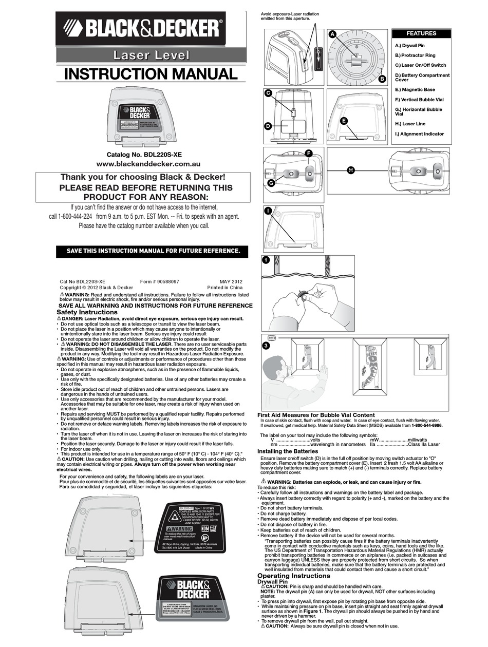 BLACK & DECKER BDL220S-XE INSTRUCTION MANUAL Pdf Download