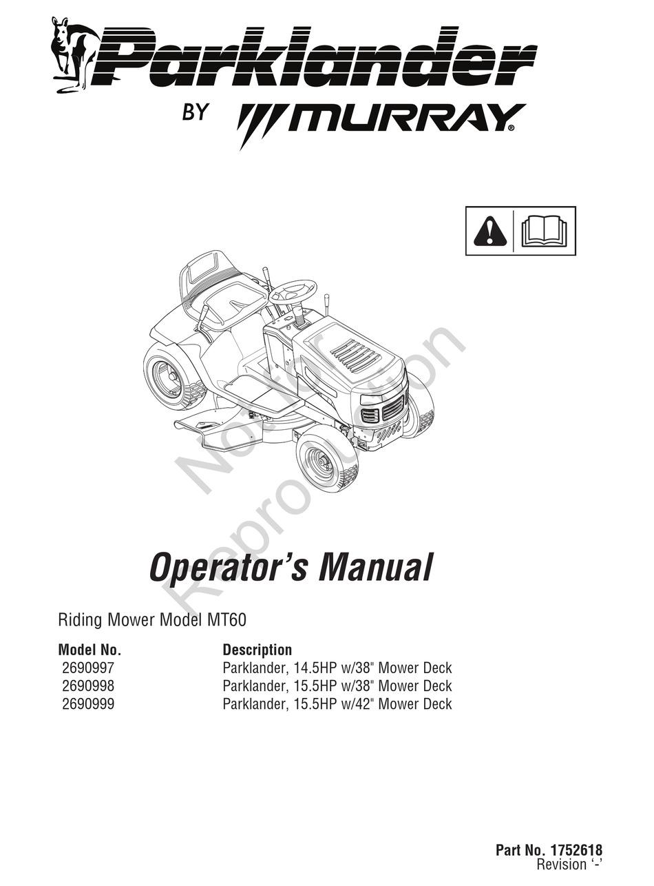 MURRAY PARKLANDER2690997 OPERATOR'S MANUAL Pdf Download
