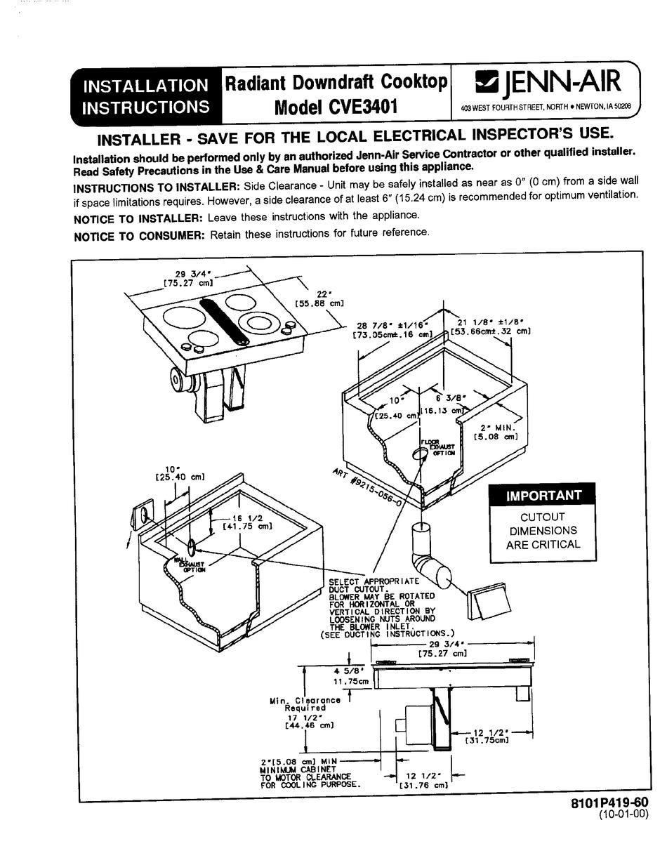 JENN-AIR CVE3401 INSTALLATION INSTRUCTIONS MANUAL Pdf