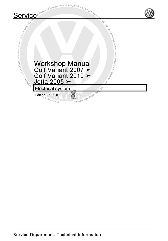 VOLKSWAGEN GOLF VARIANT 2007 WORKSHOP MANUAL Pdf Download