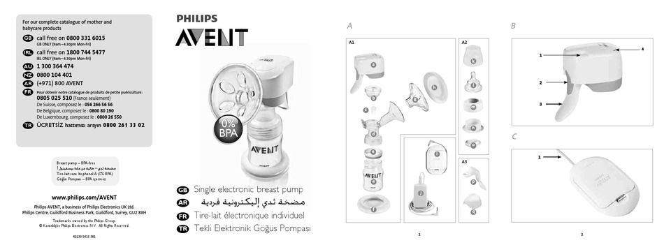 PHILIPS AVENT SINGLE ELECTRONIC BREAST PUMP USER MANUAL
