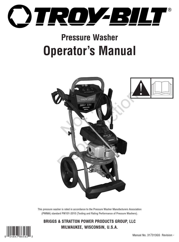 TROY-BILT PRESSURE WASHER OPERATOR'S MANUAL Pdf Download