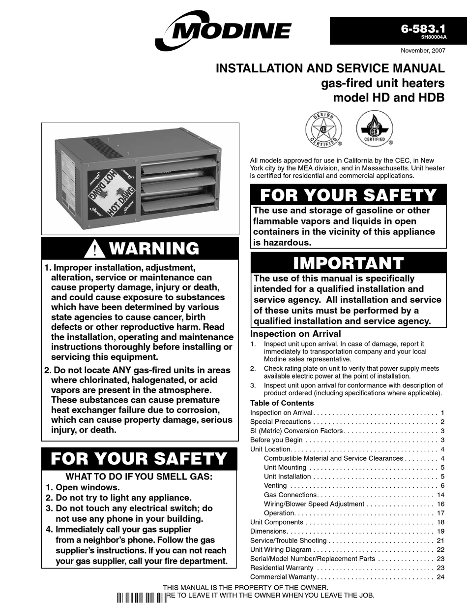 MODINE MANUFACTURING HD INSTALLATION AND SERVICE MANUAL