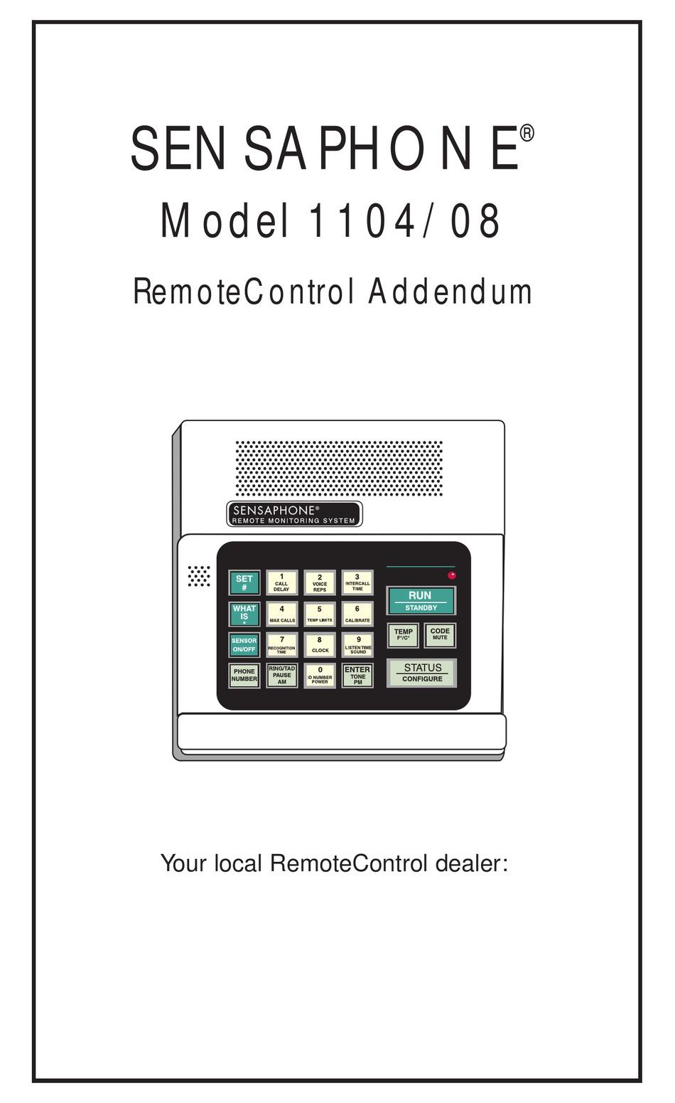 SENSAPHONE 1104 OWNER'S MANUAL ADDENDUM Pdf Download