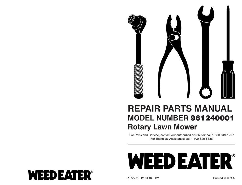 WEED EATER 961240001 REPAIR PARTS MANUAL Pdf Download
