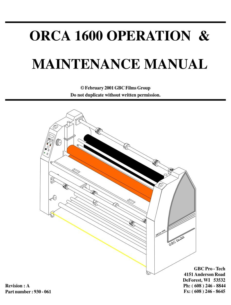 GBC ORCA 1600 OPERATION AND MAINTENANCE MANUAL Pdf