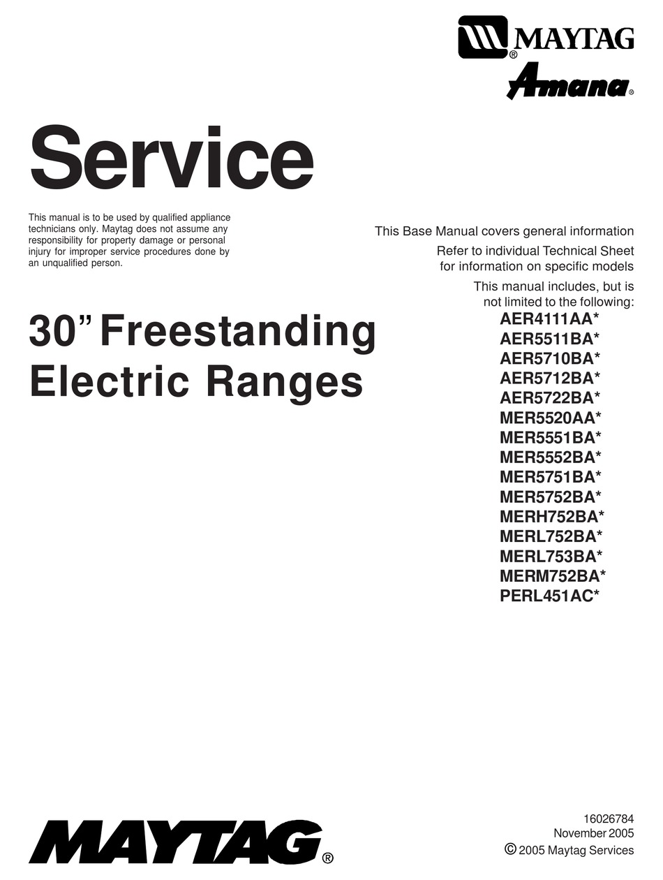MAYTAG AER4111AA SERIES SERVICE MANUAL Pdf Download