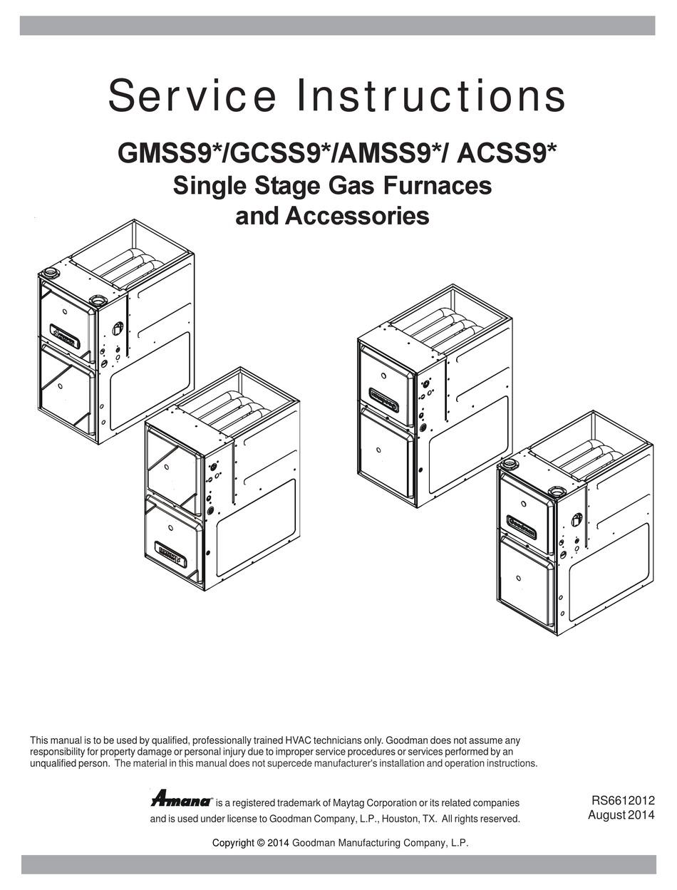Goodman Furnace Diagram : goodman, furnace, diagram, GOODMAN, GMSS9, SERIES, SERVICE, INSTRUCTIONS, MANUAL, Download, ManualsLib