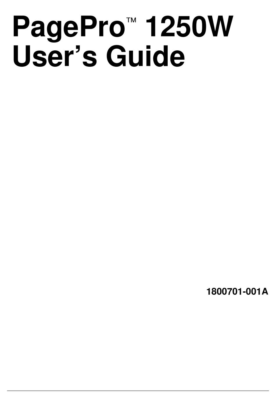 KONICA MINOLTA PAGEPRO 1250W. USER MANUAL Pdf Download