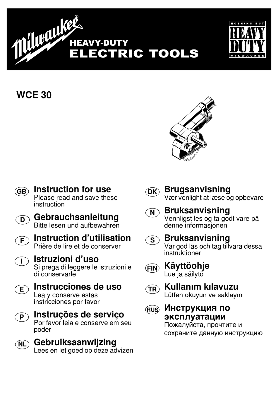 MILWAUKEE WCE 30 INSTRUCTIONS FOR USE MANUAL Pdf Download