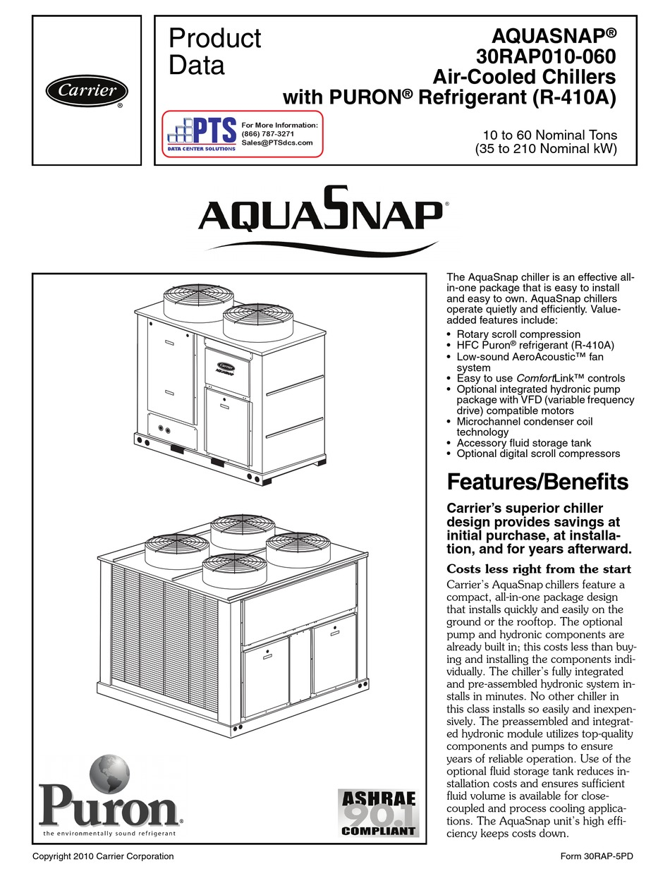 CARRIER AQUASNAP 30RAP010 PRODUCT DATA Pdf Download