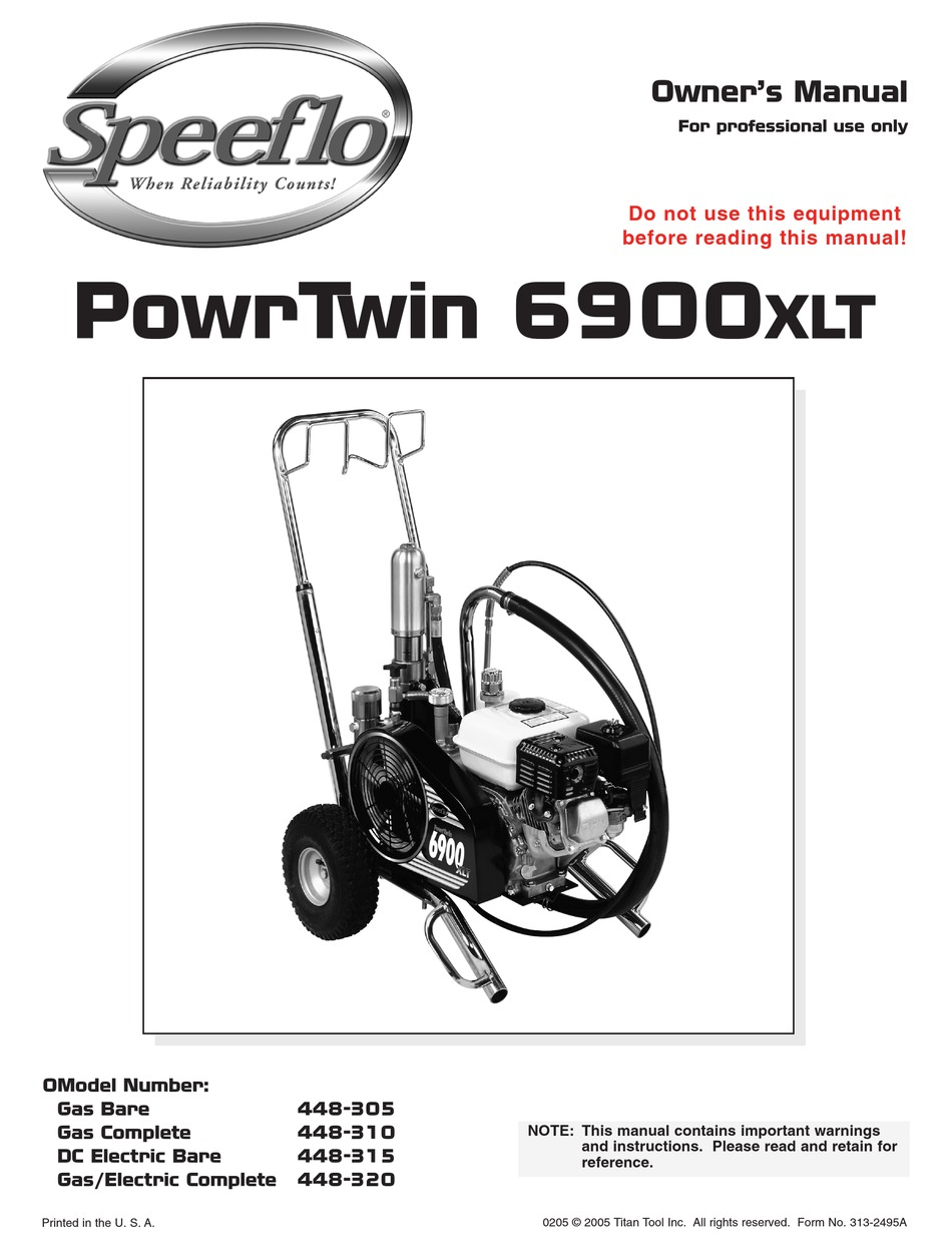 SPEEFLO POWRTWIN 6900XLT OWNER'S MANUAL Pdf Download