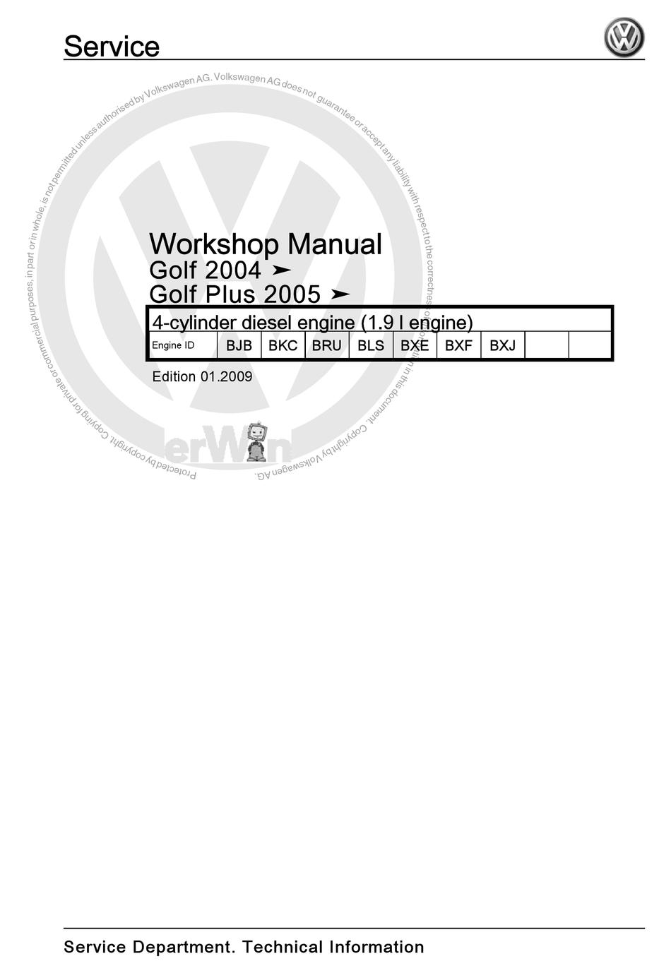 VOLKSWAGEN GOLF PLUS 2005 SERVICE MANUAL Pdf Download