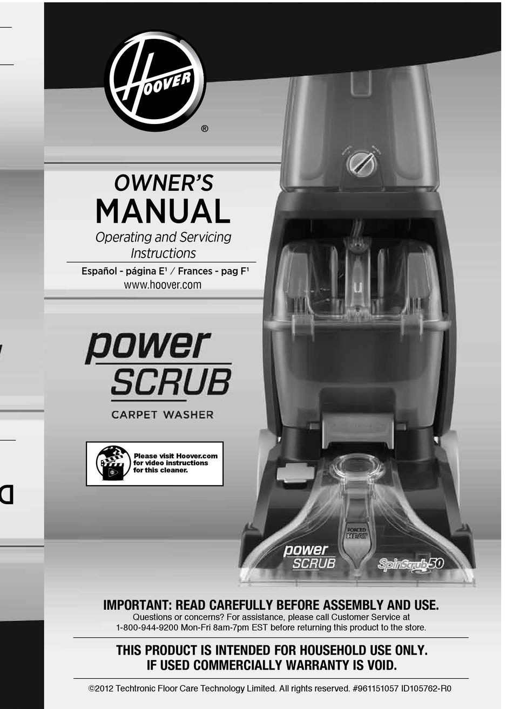 Hoover Power Scrub Manual : hoover, power, scrub, manual, HOOVER, POWER, SCRUB, OWNER'S, MANUAL, Download, ManualsLib