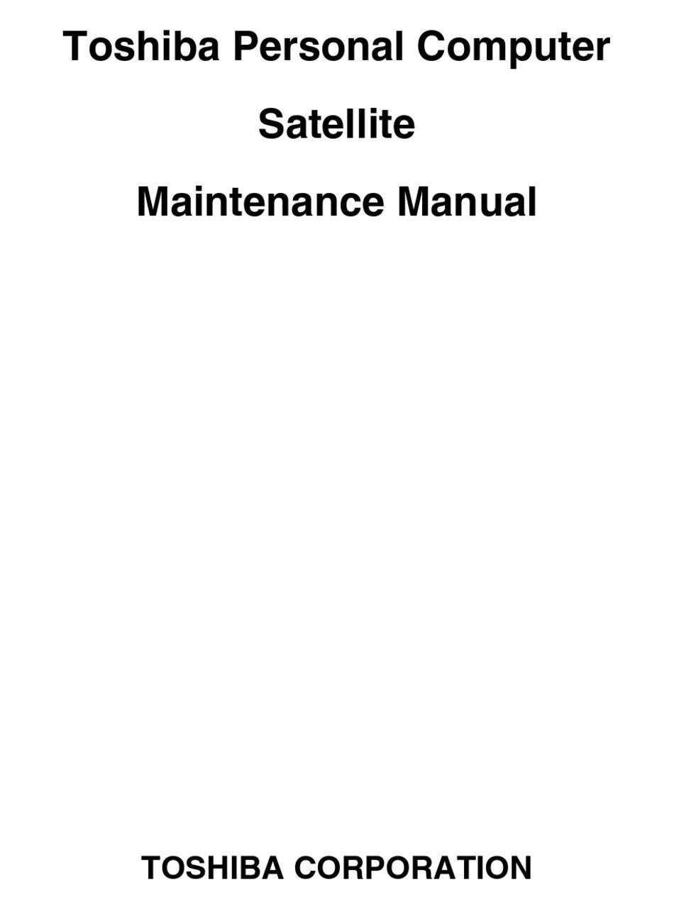 TOSHIBA SATELLITE M640 MAINTENANCE MANUAL Pdf Download