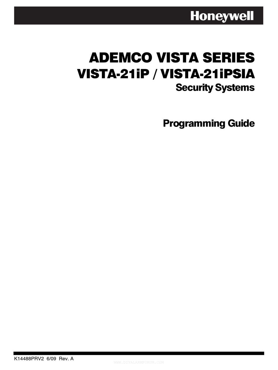 HONEYWELL ADEMCO VISTA-21IP PROGRAMMING MANUAL Pdf