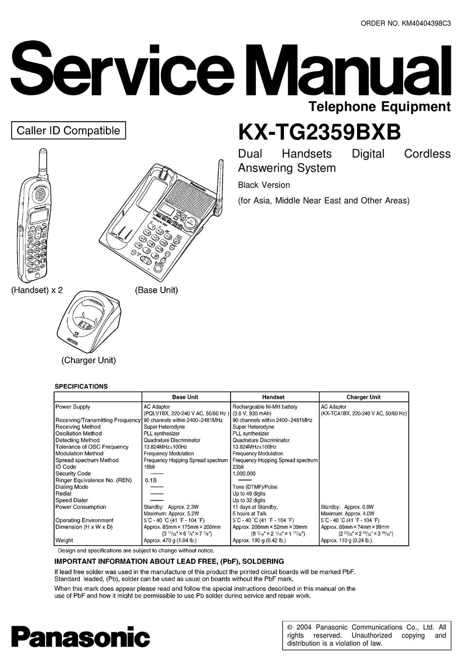 PANASONIC KX-TG2359BXB SERVICE MANUAL Pdf Download