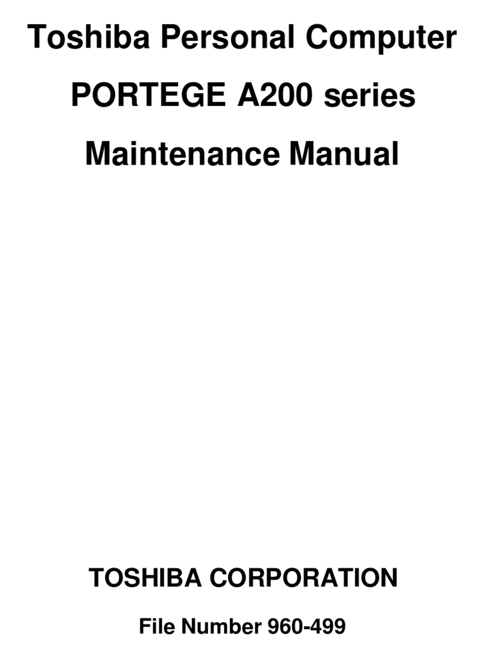 TOSHIBA PORTEGE A200 SERIES MAINTENANCE MANUAL Pdf